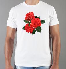 Футболка с принтом Цветы (Розы) белая 0018