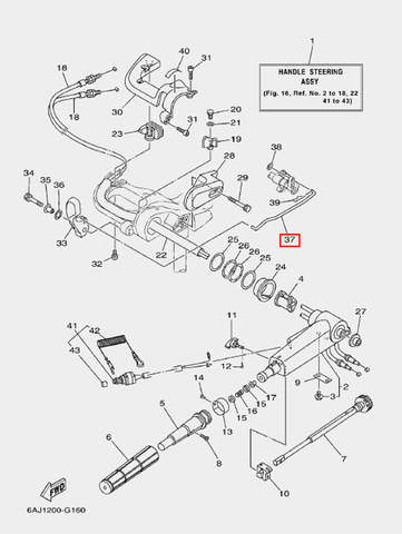 Вал ручки п-п для лодочного мотора F20 Sea-PRO (16-37)