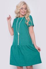 <p>Очаровательное платье свободного кроя с заниженной талией. По низу изделия волан на сборке. Рукав короткий. По спинке замок. (Длины: 44-92см; 46-93см; 48-94см; 50-95см)</p>