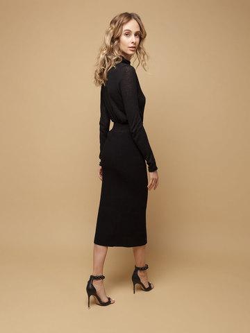 Женская юбка черного цвета из шерсти - фото 3