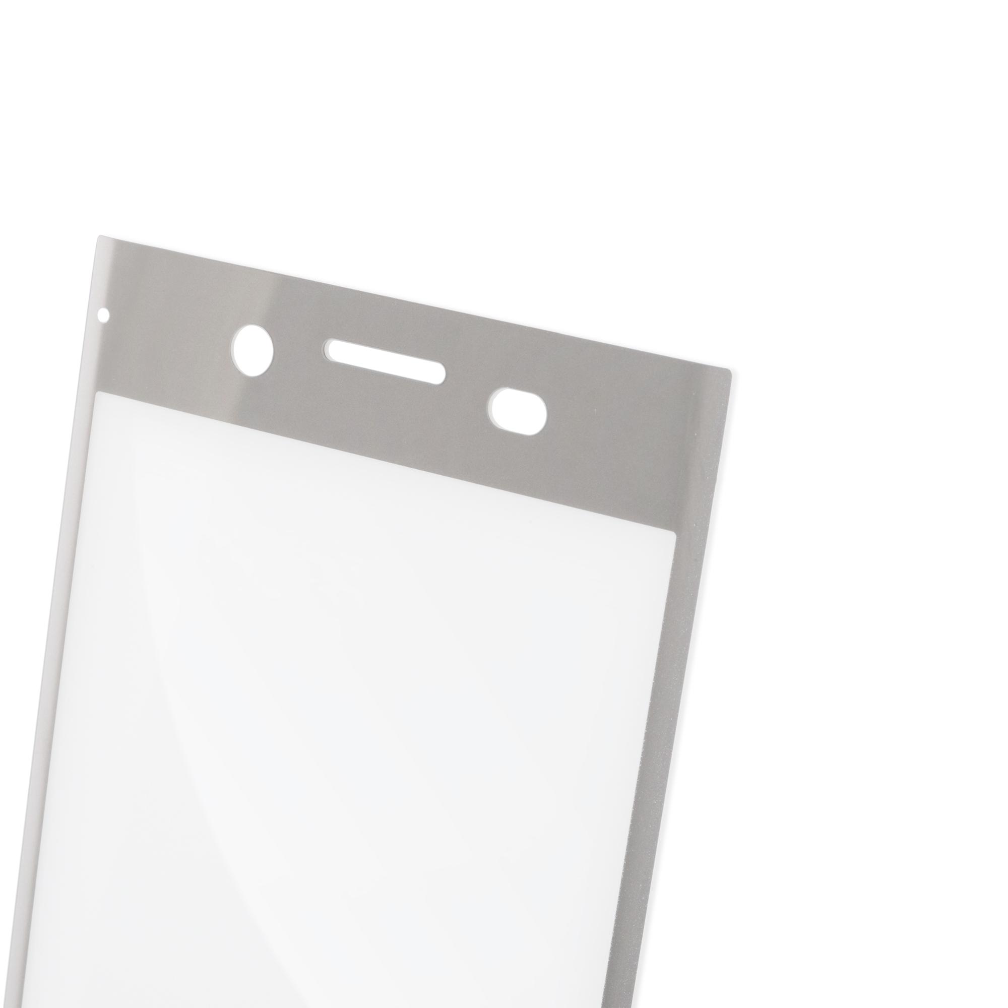 Защитное стекло полноэкранное серебристое для смартфона Xperia XZ Premium