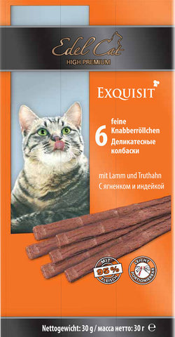 Лакомство Edel Cat деликатесные колбаски с ягненком и индейкой для взрослых кошек