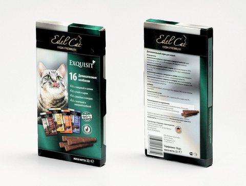 Набор лакомств Edel Cat  деликатесные мини колбаски мультипак 4 сорта для взрослых кошек