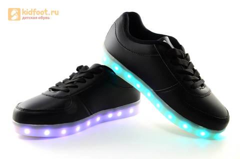 Светящиеся кроссовки с USB зарядкой Fashion (Фэшн) на шнурках, цвет черный, светится вся подошва. Изображение 13 из 27.