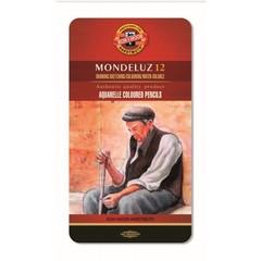 Набор акварельных цветных карандашей Koh-I-Noor 3722BL Mondeluz, 12 цветов, жесть, блистер, европодвес