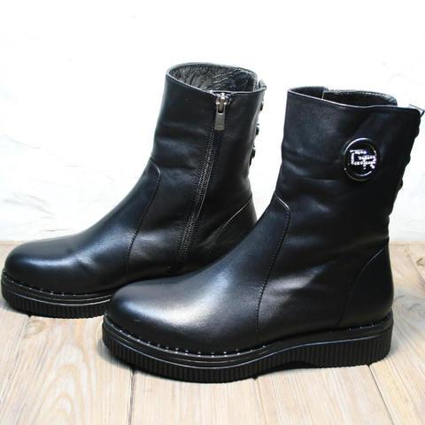 Кожаные ботинки полусапожки женские зимние с мехом без каблука. Зимние женские ботильоны ботинки высокие без шнурков