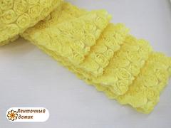 Ткань Розы на сетке желтая