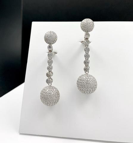 Серьги из серебра с подвесками шары с микроцирконами