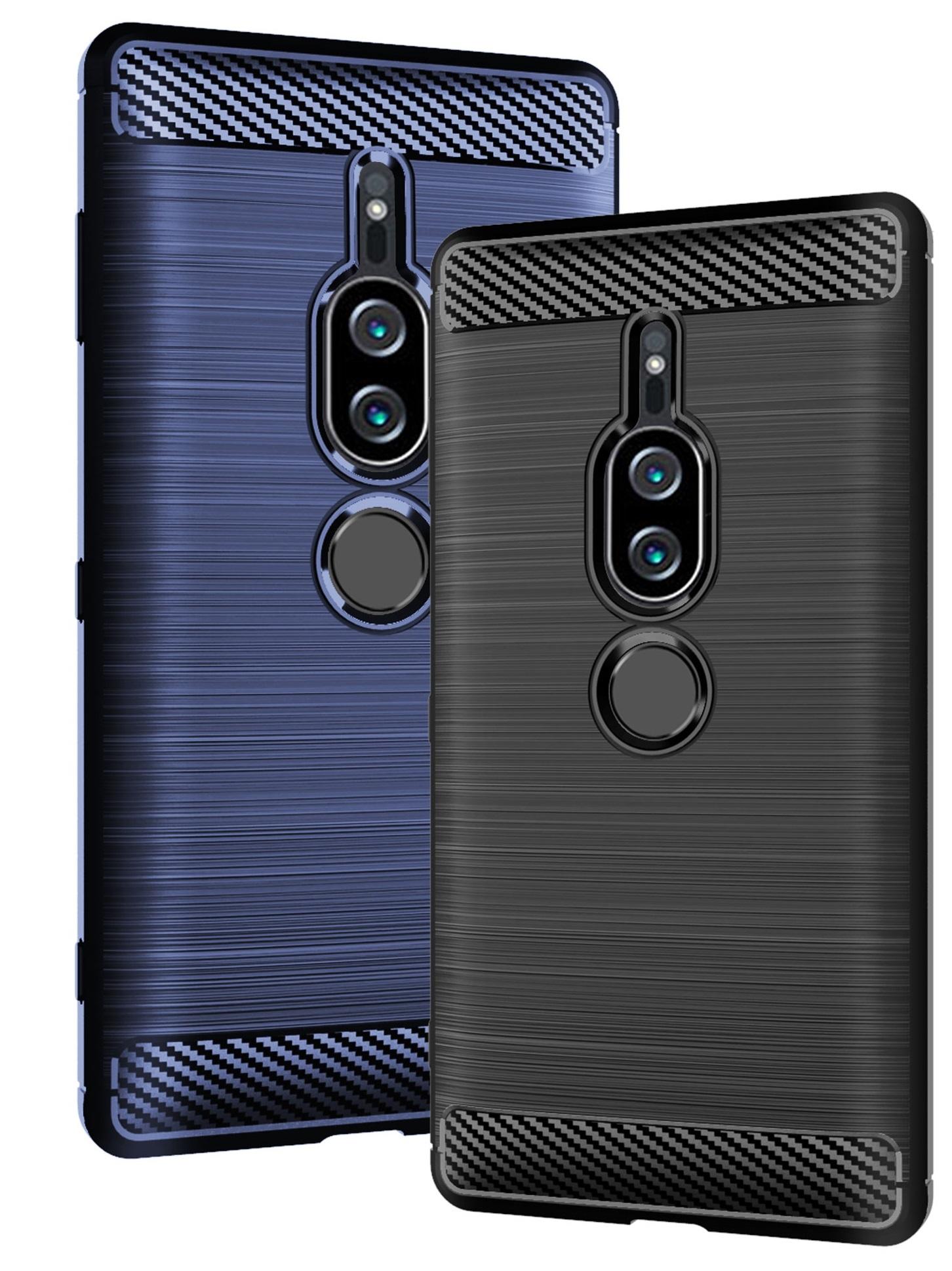 Чехол Sony Xperia XZ2 Premium цвет Blue (синий), серия Carbon, Caseport