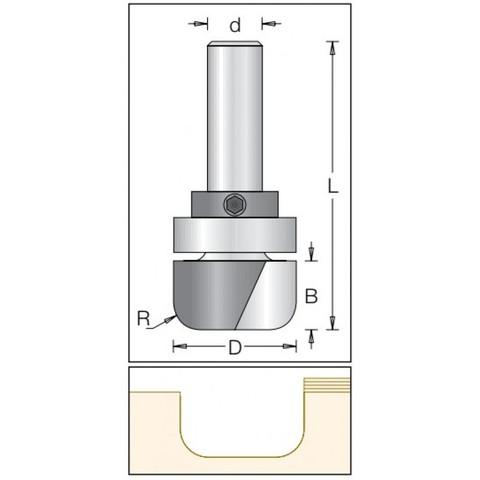 Фреза радиусная с плоским дном и с  подшипником Dimar 1062639 D19,1x16 L67