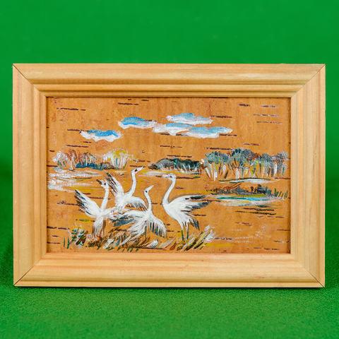Картина на бересте Стая аистов