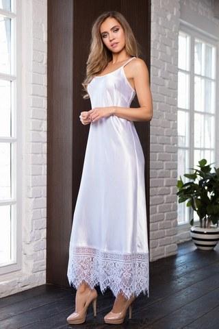 Ночное длинное платье на бретелях Evelin белое