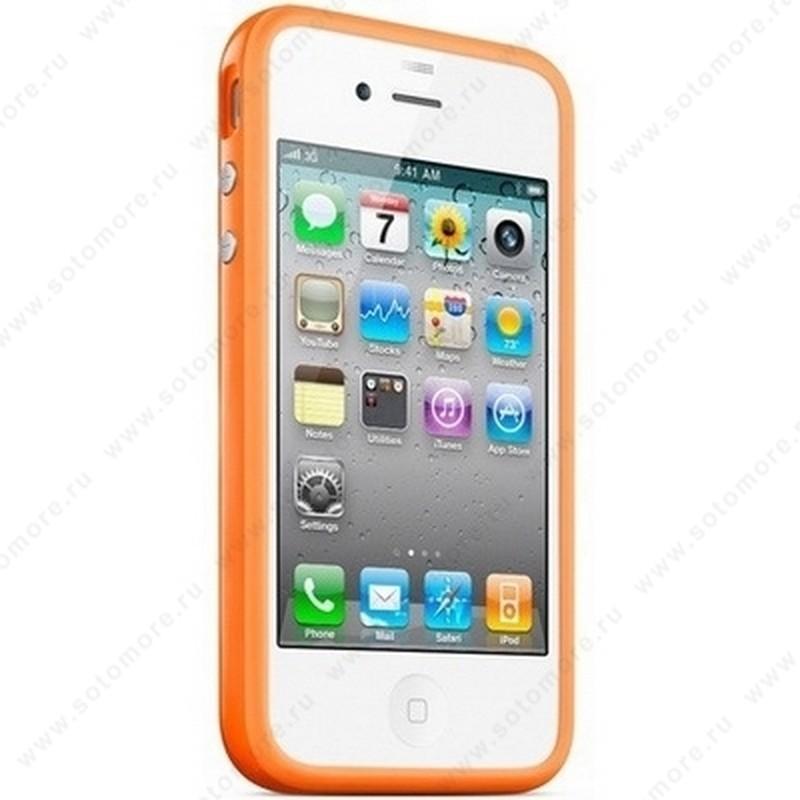 Бампер для iPhone 4 оранжевый