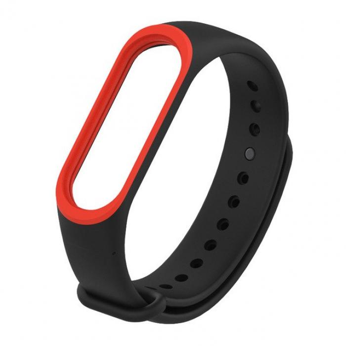 Силиконовый ремешок для Xiaomi Mi Band 3 (черный с красным)
