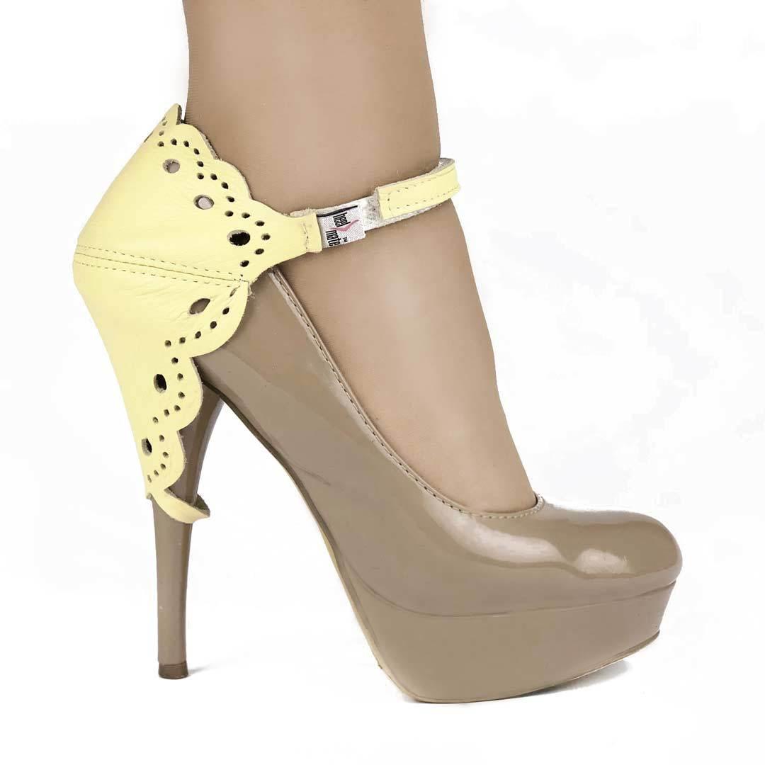 Автопятка для женской обуви на каблуке ажурная желтая