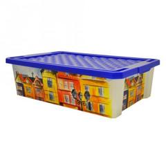 Ящик для хранения Optima 30л на роликах, синий, с крышкой