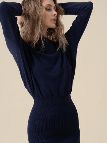Женское платье темно-синего цвета из 100% кашемира - фото 5