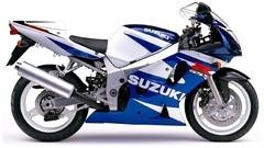 Набор наклеек на Suzuki GSX-R 600 2001 (бело - синий пластик)