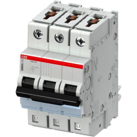 Автоматический выключатель 3-полюсный 10 А, тип D, 10 кА S403M-D10. ABB. 2CCS573001R0101
