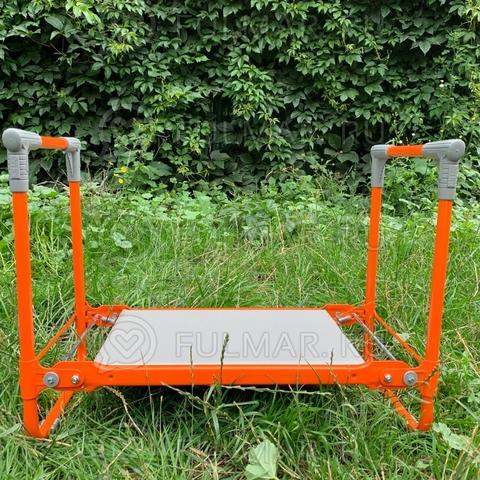 Садовая раскладная скамейка для огорода перевертыш 56х30х42,5 см Оранжевая до 100 кг
