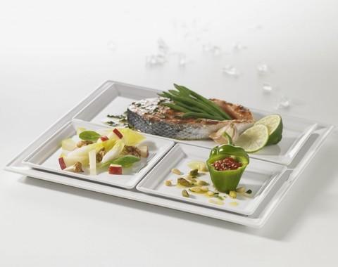 Фарфоровая квадратная тарелка, белая, артикул 000699, серия Time Square