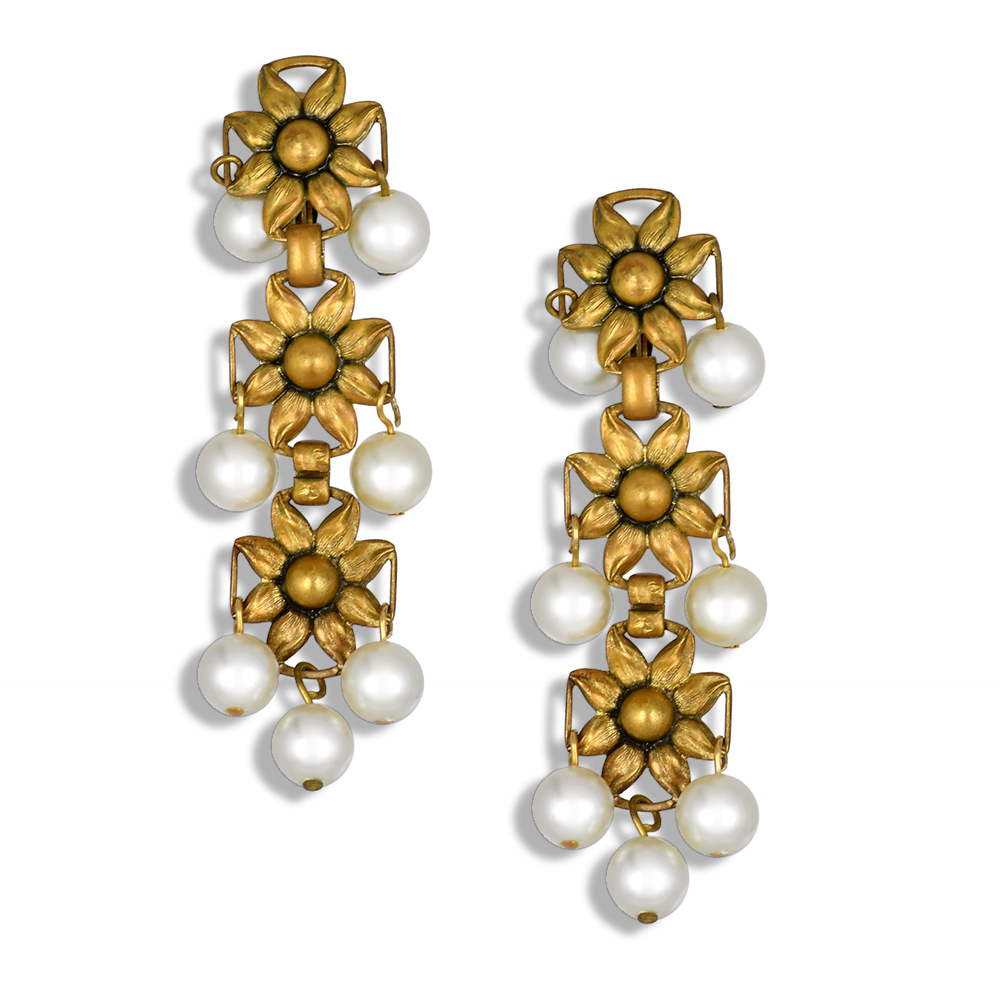 Faux pearl Joseff of Hollywood cascading clip on earrings