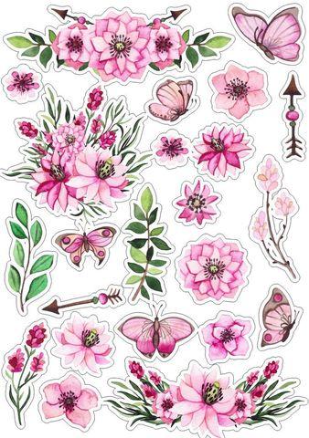 Печать на сахарной бумаге, Набор цветы 3
