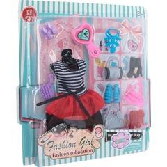 Стильное платье и аксессуары для куклы 29 см (платье, обувь, сумочки)
