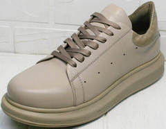 Walking shoes кроссовки женские кожа Markos 1523 All Beige.