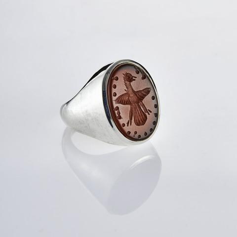 Кольцо-печатка с инталией 15.5 (сердолик, антик)