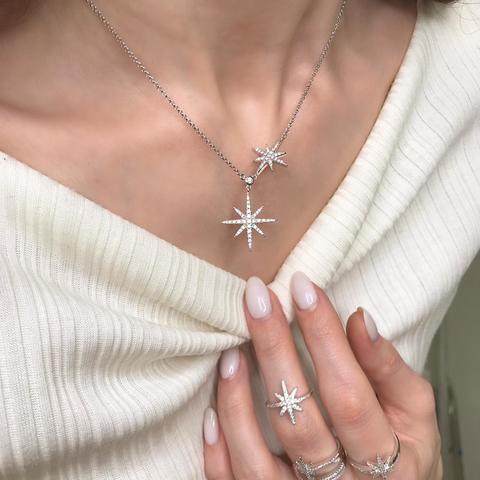 Колье из серебра Meteorites с двумя звездами