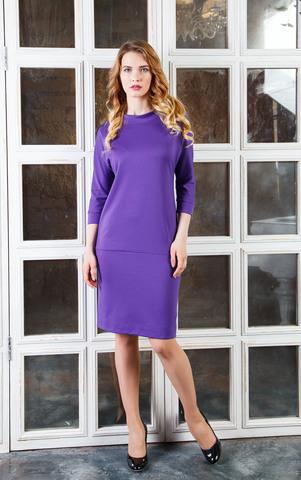 Фото фиолетовое трикотажное платье-футляр с рукавами 3/4 - Платье З228-456 (1)