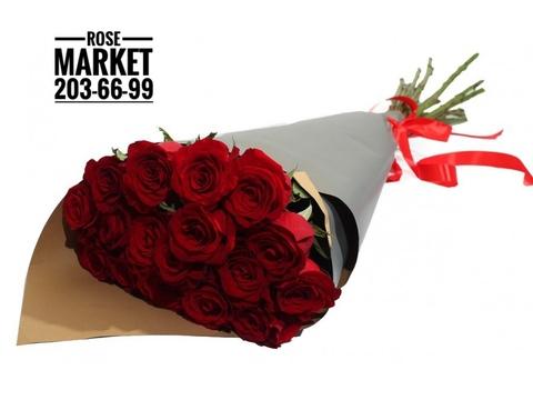 17 элитных красных роз в оформлении #16732