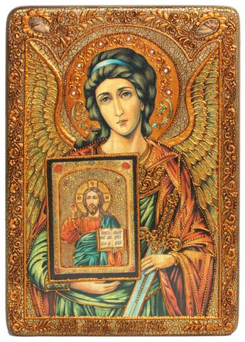 Подарочная большая икона Ангел Хранитель 42х29см на натуральном дереве в подарочной коробке