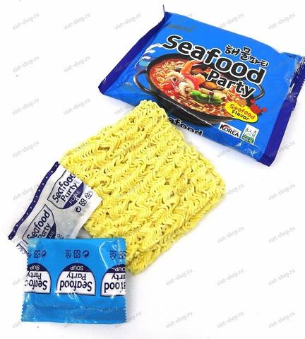 Корейская пшеничная лапша со вкусом морепродуктов Samyang Seafood party, 125 гр.