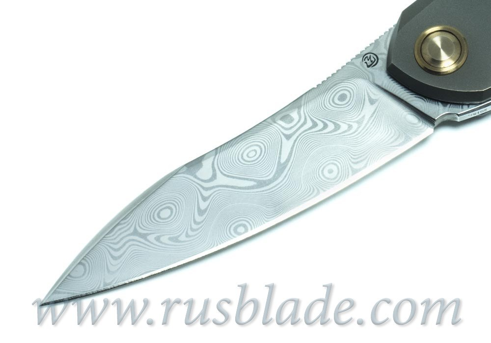 Cheburkov Russkiy 2018 Damascus folding knife Bronze