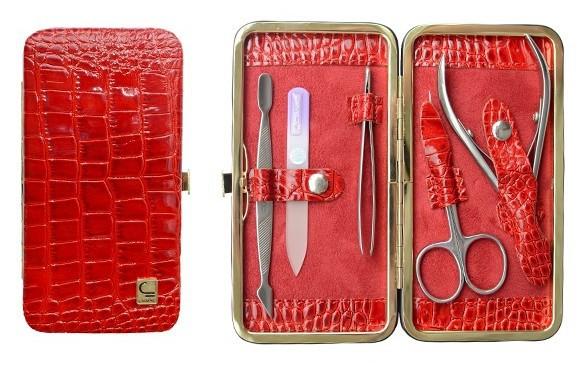 Маникюрный набор СТАЛЕКС НМ-04/1 «Рамка», 5 предметов. Натуральная кожа, ручная заточка. Цвет № 01