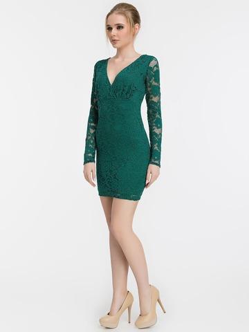 Короткое кружевное платье, изумрудного цвета 1