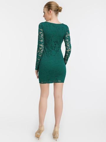 Короткое кружевное платье, изумрудного цвета 2