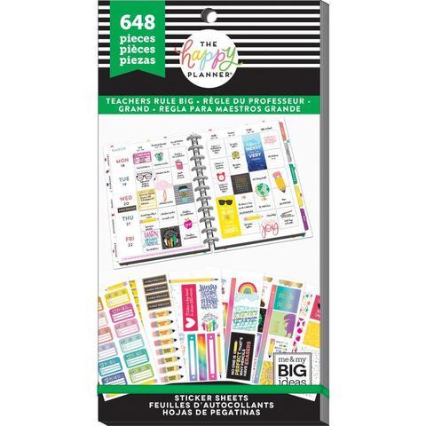 Блокнот со стикерами для ежедневника Create 365 Happy Planner Sticker Value Pack- Teacher rule big - 648 шт