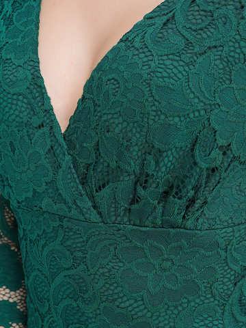 Короткое кружевное платье, изумрудного цвета 3
