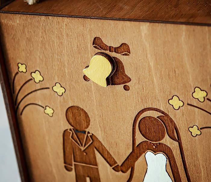 BOX250-2 Свадебная коробка для подарка с веревочными ручками (17*17*10 см) фото 03