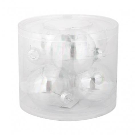 Набор шаров 6шт. в тубе (стекло), D8см, цвет: прозрачные
