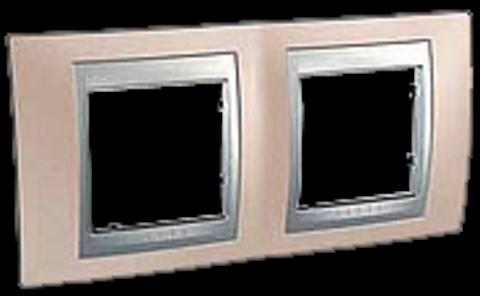 Рамка на 2 поста. Цвет Оникс-алюминий. Schneider electric Unica Top. MGU66.004.096