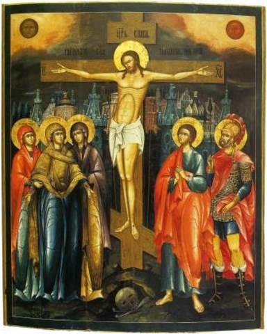 Икона Распятие Иисуса Христа на левкасе на дереве мастерская Иконный Дом