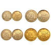 Набор из 4 монет. Арктикуголь. Шпицберген. (10, 25, 50, 100 рублей) 1993 год в буклете