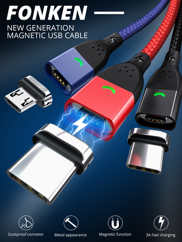 Магнитный кабель FONKEN - быстрая зарядка + передача данных - Lightning Micro USB Type-C (1 коннектор в комплекте).