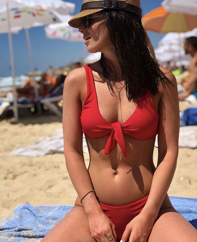 Купальник красный раздельный с узлом на груди Knot Red 3