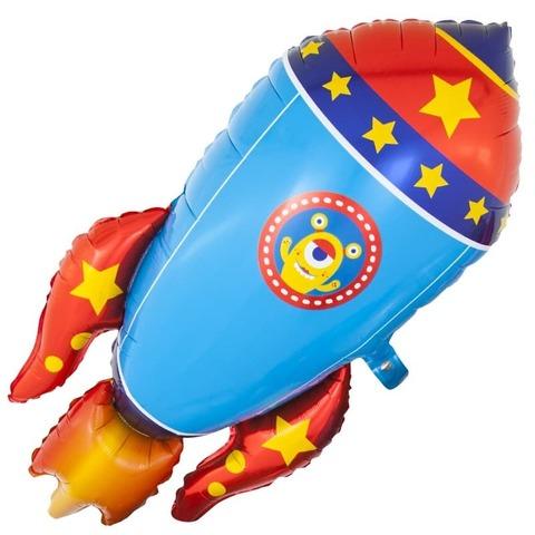 Шар фигура из фольги Космическая ракета, голубая