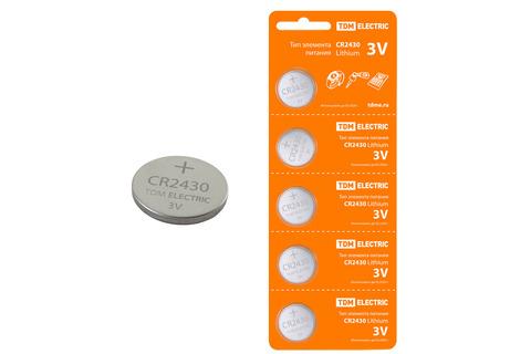 Элемент питания CR2430 Lithium 3V BP-5 TDM